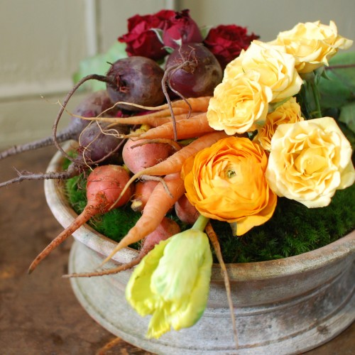Design Sponge (by The Ladies of Foret). The lovely still-life is a beautiful juxtaposition of the peaceful, yet vigorous, energy of a garden.