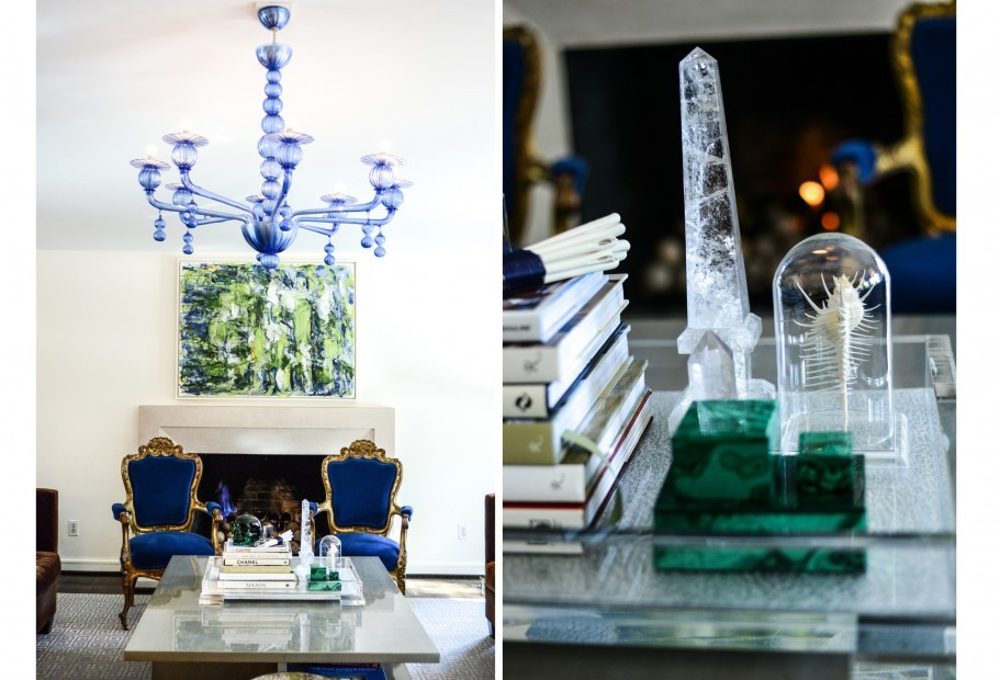 Left: In the living room, the vintage 1980s Venetian glass chandelier; RIght: On the coffee table, a Lucite box holds a rotating collection of found objects