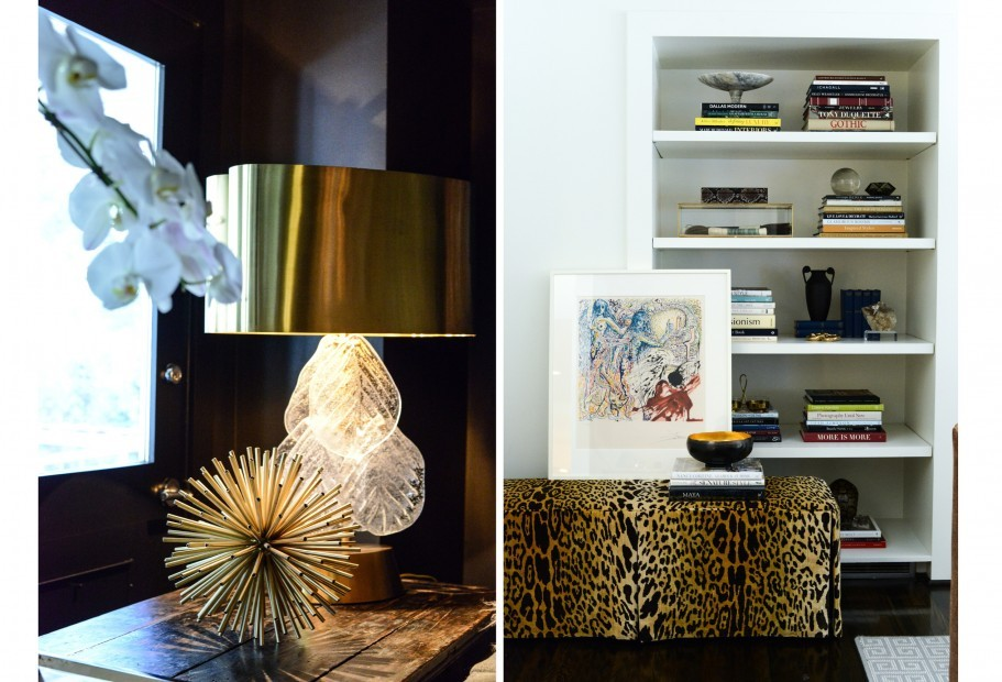 Left: Venitian glass and brass lamp; RIght: Vintage leopard ottoman